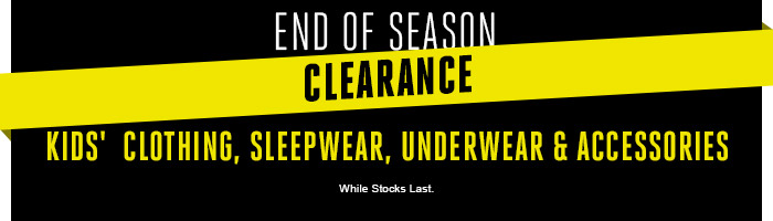 Kids' Clearance Clothing, Sleepwear, Underwear & Accessories