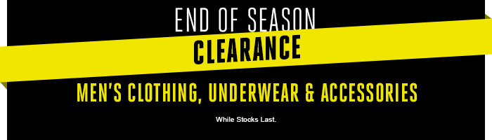Shop Men's Clothing, Underwear & Accessories End of Season Clearance