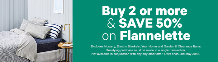 Buy 2 or more & SAVE 50% on Flannelette sheets | Shop Now!