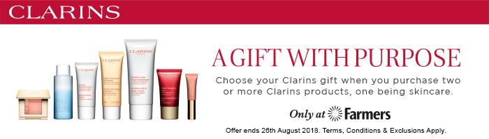 a gift with purpose, choose your clarins gift when you purchase two ore more clarins products, one being skincare