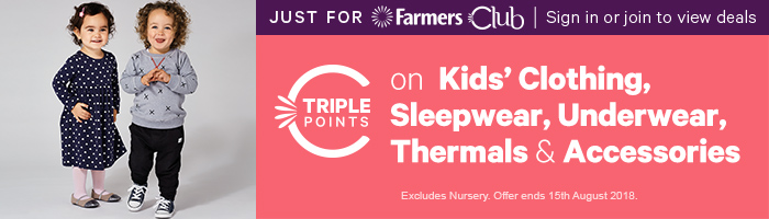 Triple Points on Kids' Clothing, Sleepwear, Underwear, Thermals & Accessories!
