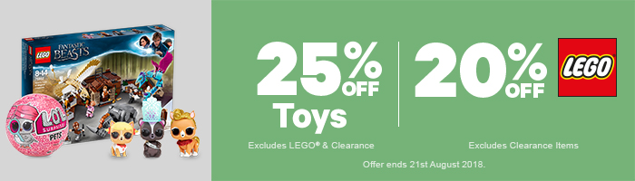 25% Off Toys | 20% Off LEGO - Must end 21st August