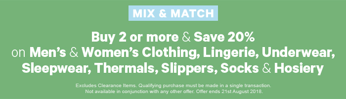 Buy 2 or more & save 20% on Men's & Women's Clothing, Lingerie, Underwear, Sleepwear, Thermals, Slippers, Socks & Hosiery