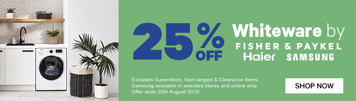 25% off Whiteware by F&P, Haier, Samsung | Shop Now