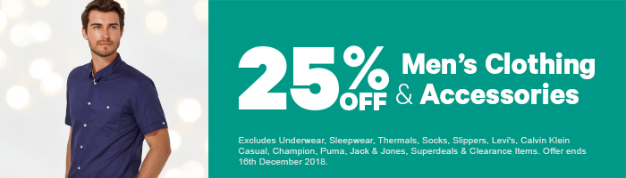 25% off Men's Clothing & Accessories