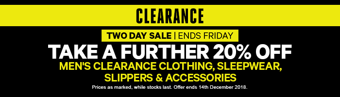 Take a Further 20% off Clearance Men's Clothing & Accessories