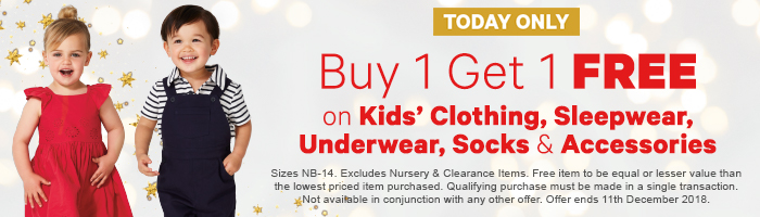 Buy 1 Get 1 Free on Kids' Clothing, Sleepwear, Underwear, Socks & Accessories