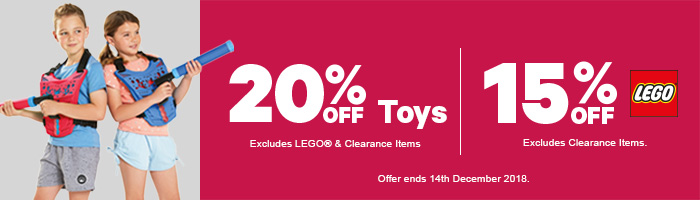 20% off Toys, 15% off Lego. Offer ends 14th December 2018