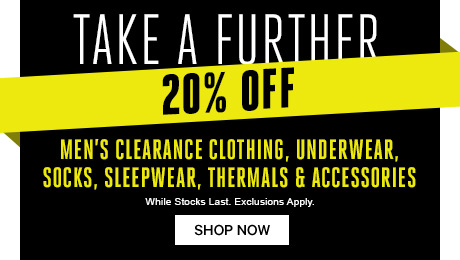 Take a further 20% off Men's Clearance