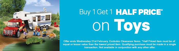 Buy 1, Get 1 Half Price on Toys - Must end 21st February