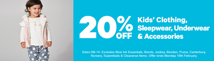 20% off Kids' Clothing, Sleepwear, Underwear & Accessories