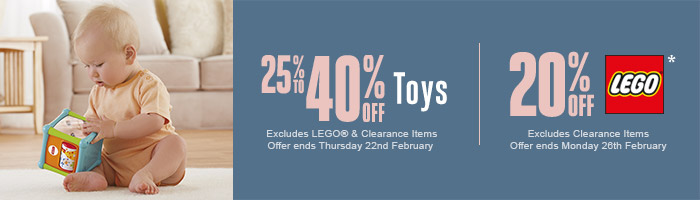 25-40% Off Toys | 20% Off Lego - Must end 22nd February