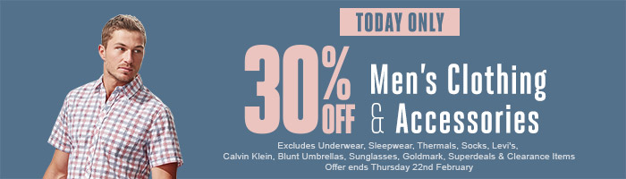 30% off Men's Clothing & Accessories - Must end 22 February