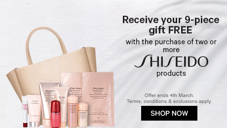 Receive the 9-piece gift free with the purchase of two or more shiseido products