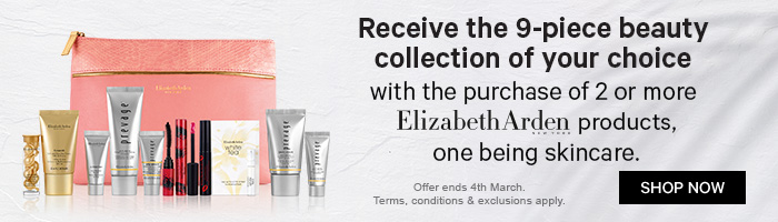 receive the 9-piece beauty collection of your choice with the purchase of 2 or more elizabeth arden products, one being skincare