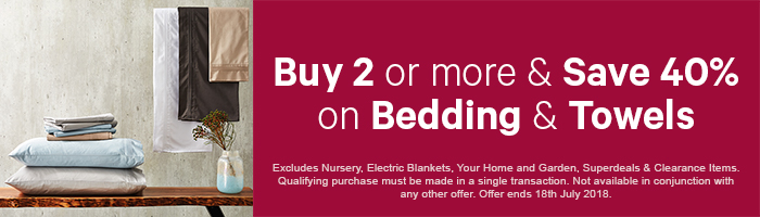 Buy 2 more & Save 40% on Bedding & Towels