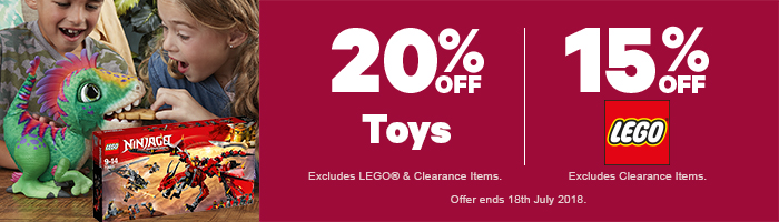 20% Off Toys | 15% Off LEGO - Must end 18th July