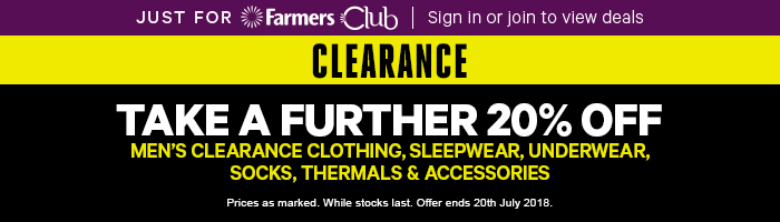 Take a further 20% OFF Men's Clearance Clothing, Sleepwear, Underwear, Socks, Thermals & Accessories - Must end 20th July