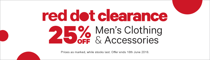 25% off Red Dot Clearance Men's Clothing & Accessories