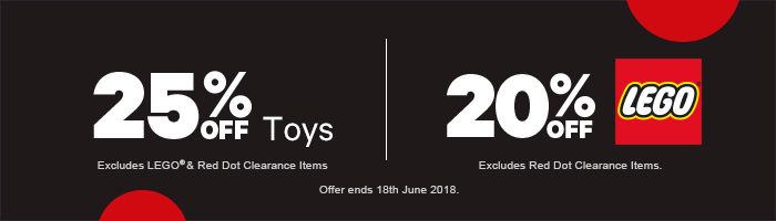 25% Off Toys & 20% Off LEGO - Must end 18th June