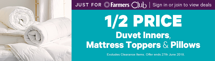 Just for Farmers Club 1/2 Price Duvet Inners, Mattress Toppers & Pillows