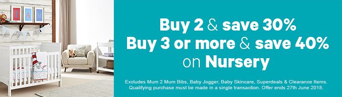 Buy 2 & Save 30%, Buy 3 or more & Save 40% on Nursery - Must end 27th June