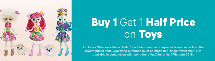 Buy One, Get One Half Price on Toys - Must end 27th June