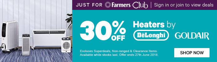 Just for Farmers Club 30% off Heaters by DeLonghi & Goldair