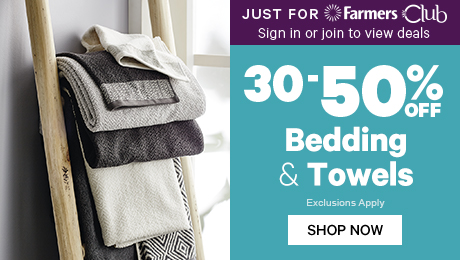Just for Farmers Club 30-50% off Bedding & Towels