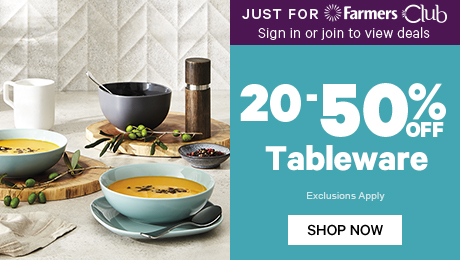 Just for Farmers Club 20-50% off Tableware