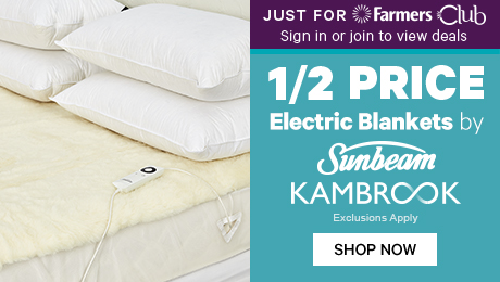 Just for Farmers Club 1/2 Price Electric Blankets by Sunbeam & Kambrook