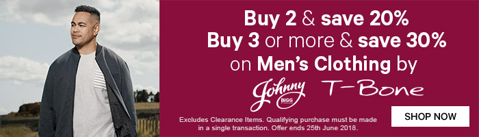 Buy 2 & Save 20% Buy 3 or more & Save 30% on Men's Clothing by Johnny Bigg & T-Bone