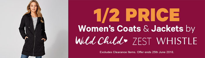 1/2 Price Women's Coats & Jackets by Wild Child, Zest & Whistle