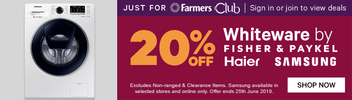 Just for Farmers Club 20% off Whiteware