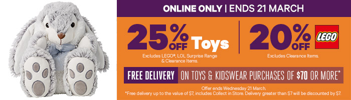 Online Only 25% Off Toys & 20% Off LEGO - Must end 21 March