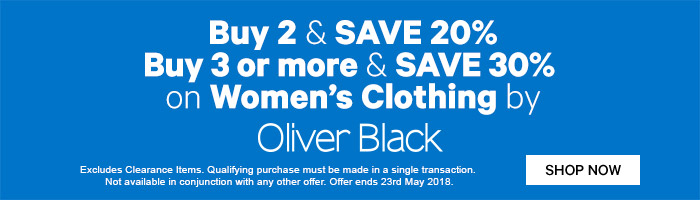 Buy 2 & Save 20% Buy 3 or more & Save 30% on Women's Clothing by Oliver Black