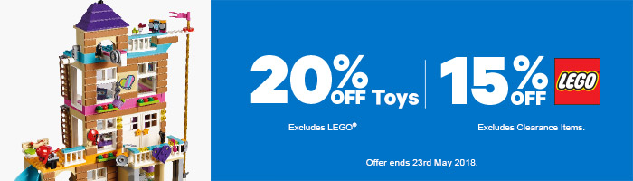 25-40% Off Toys and 15% Off LEGO - Must end 23rd May