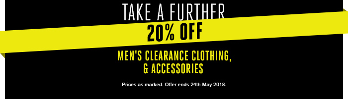 Take a further 20% off Men's Clearance Clothing & Accessories Today Only!