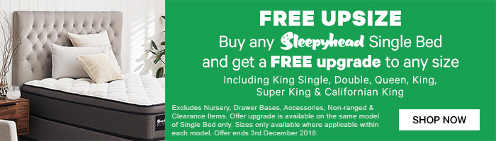Free Upsize across any Sleepyhead Beds