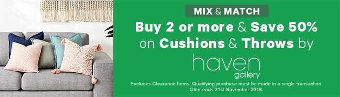 Buy 2 or more & save 50% on Cushions & Throws by Haven Gallery