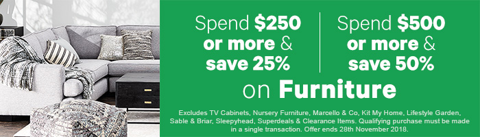 Spend & Save 25-50% off on Furniture