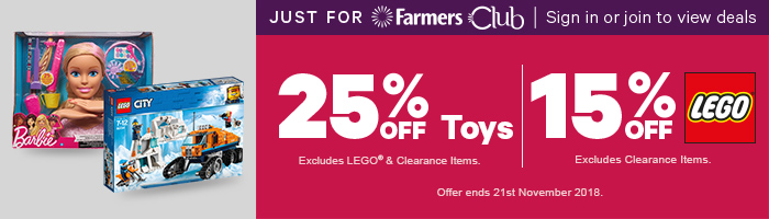 Just for farmers club, 25% off toys, 15% off toys. offer ends 21st November 2018