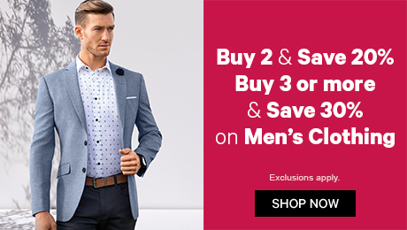 Buy 2 & save 20%, Buy 3 or more & save 30% on Men's Clothing & Accessories