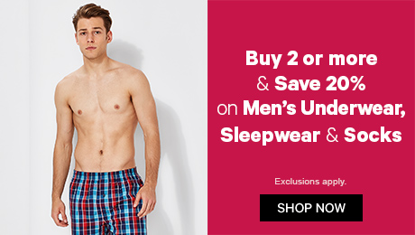 Buy 2 or more & save 20% on Men's Underwear, Sleepwear & Socks