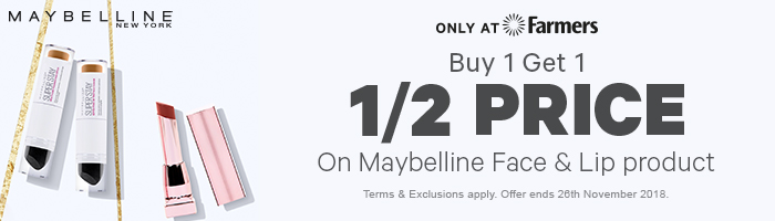 Buy 1 get 1 1/2 Price on Maybelline Face & Lip Products