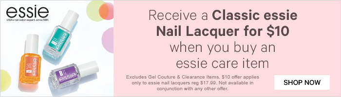 receive a classic essie nail lacquer for $10 when you buy an essie care item