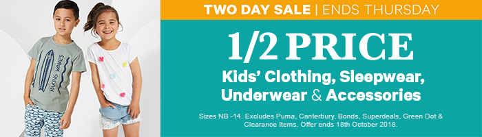 1/2 Price Kids' Clothing, Sleepwear, Underwear & Accessories - Ends Thursday!