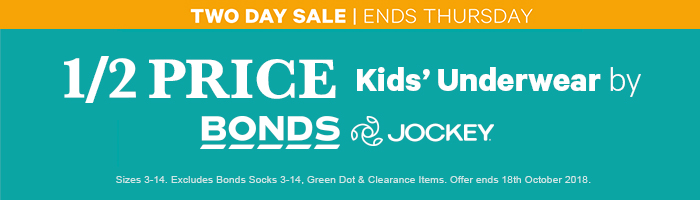 1/2 Price Underwear by Bonds & Jockey