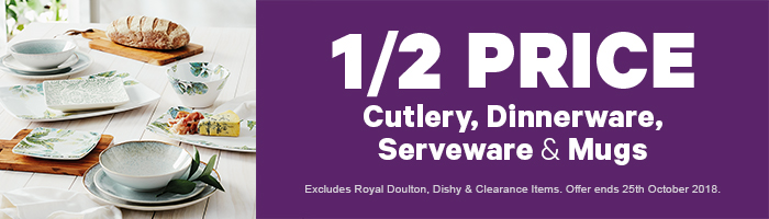 1/2 Price Cutlery, Dinnerware, Serveware & Mugs