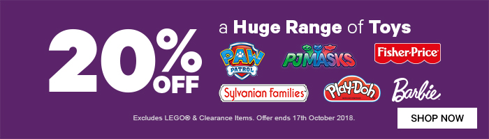 20% Off a Huge Range of Toys - Must end 16th October
